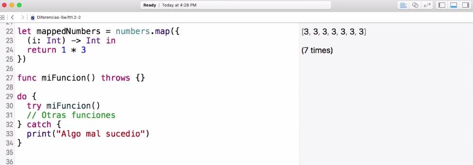 Diferencias entre Swift 1.2 y Swift 2.0