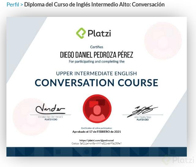 Platzi Diploma del Curso de Inglés Intermedio Alto.png