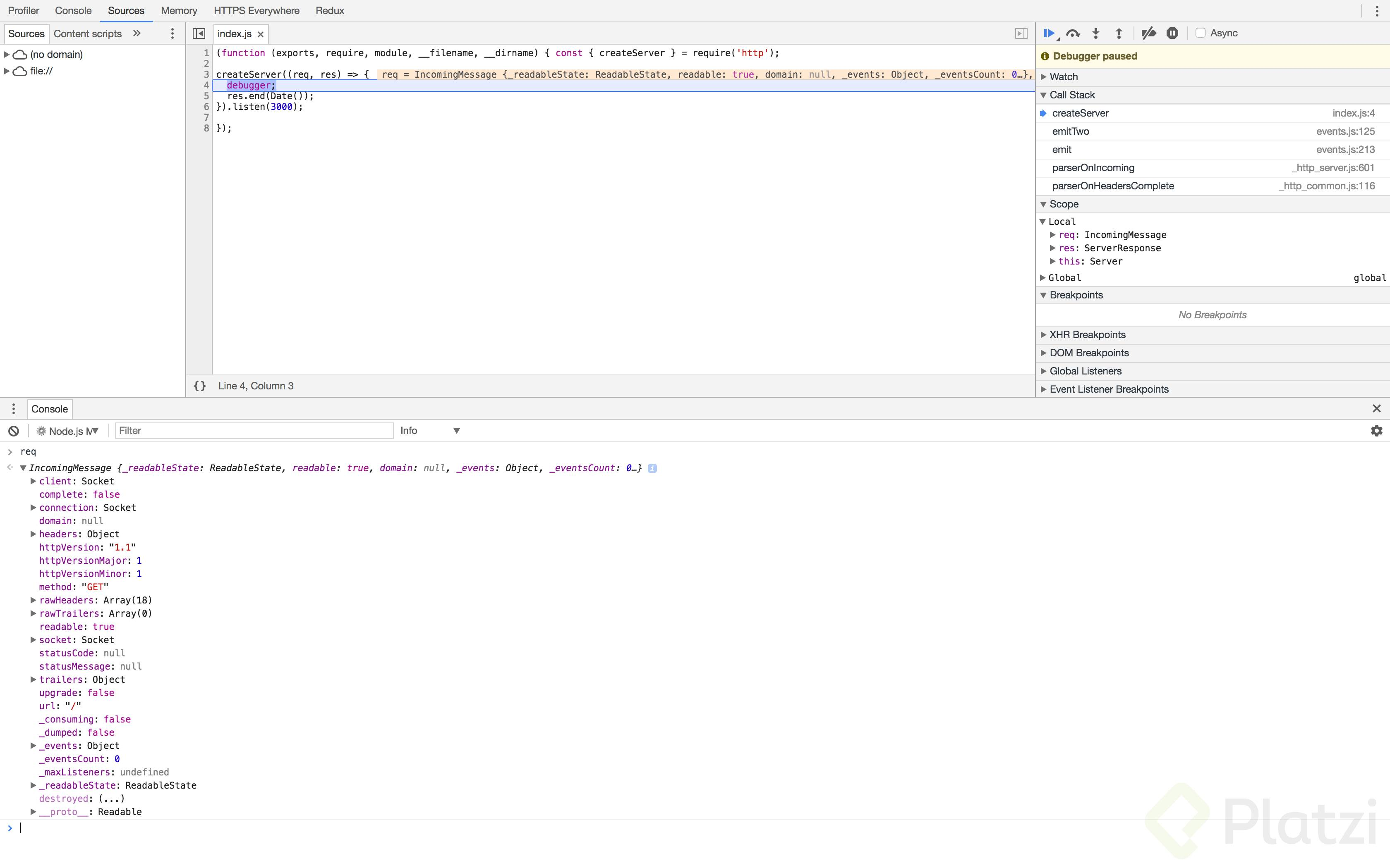 Chrome Developer Tools inspeccionando un proceso de Node.js