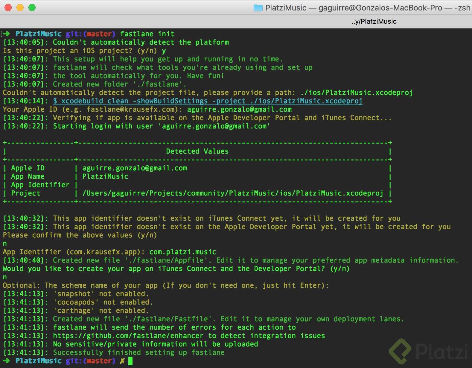 Este es el resultado de correr fastlane init y completar los datos requeridos durante su ejecución